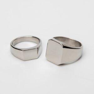 Luxusní ocelový prsten pro muže s vlastním textem nebo logem