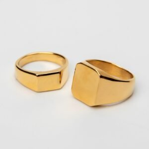 pánský prsten z nerezové oceli - gold