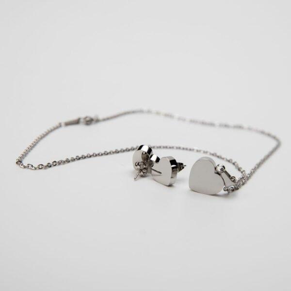 Set ocelový přívěšek srdce a naušnice