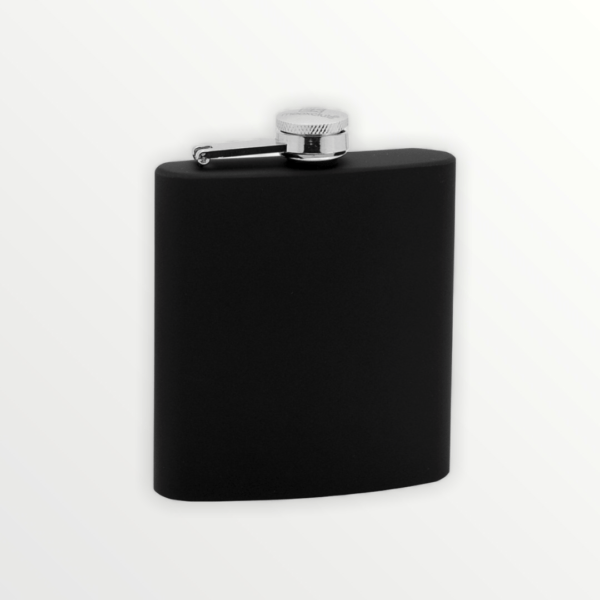 Černá nerezová lakovaná kapesní placatka s vlastním textem nebo logem - 97105