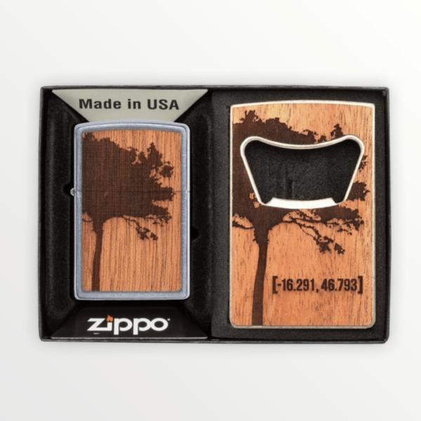 Dárková sada zapalovač ZIPPO WOODCHUCK USA & Otvírák na lahve s vlastním textem nebo logem - 30059.