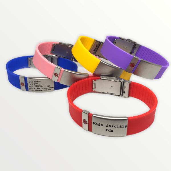 Luxusní silikonový Body ID náramek s barevnými pásky