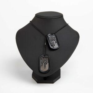 Vojenské identifikační psí známky na krk MILSPEC BLACK sada, černý povrch s vlastním textem - 10346