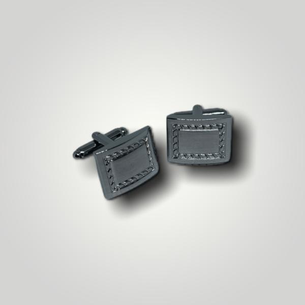Manžetové knoflíčky ocelové obdelník s gravírováním - 50292