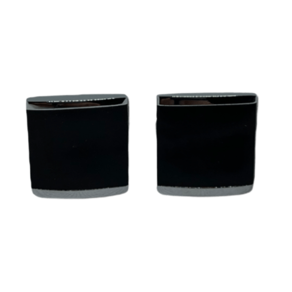 Manžetové knoflíčky ocelové s výplní čtverec s gravírováním - 50297