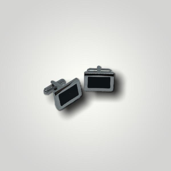 Manžetové knoflíčky ocelové s výplní obdelník s gravírováním - 50296