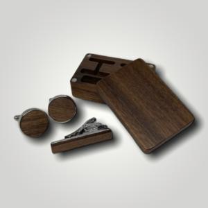 Luxusní manžetové knoflíčky se sponou dřevěné