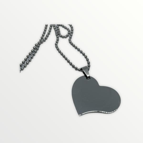 Přívěšek ve tvaru srdce nerezový plný s vlastním textem - 2987
