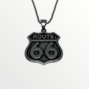 Ocelový přívěšek ROUTE 66 s vlastním textem nebo motivem - 9120